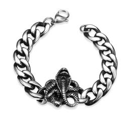 Vienna Jewelry Rose Emblem Stainless Steel Bracelet - Thumbnail 0