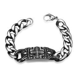 Vienna Jewelry Thick Cut Cross Emblem Stainless Steel Bracelet