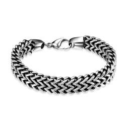 Vienna Jewelry Rectangle Angle Stainless Steel Bracelet - Thumbnail 0