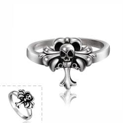 Vienna Jewelry Mini Cross Skull Stainless Steel Ring - Thumbnail 0