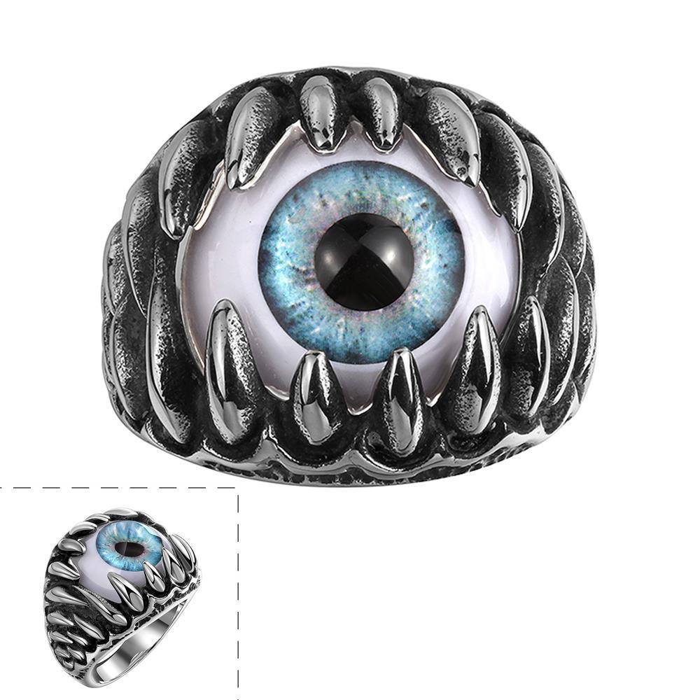 Vienna Jewelry Singular Eyeball Stainless Steel Ring