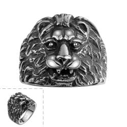 Vienna Jewelry Stainless Steel Lion's Head Ring - Thumbnail 0