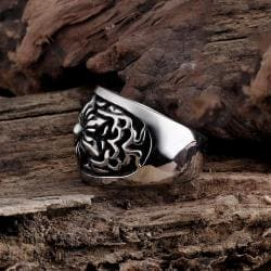Vienna Jewelry Thick Rose Petal Stainless Steel Ring - Thumbnail 0