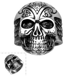 Vienna Jewelry Thick Rounded Stainless Steel Skull Ring - Thumbnail 0