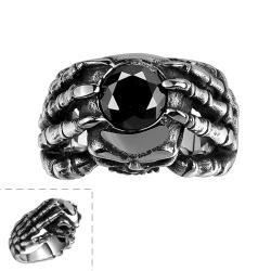 Vienna Jewelry Black Gem with Sterling Silver Lining Ring - Thumbnail 0