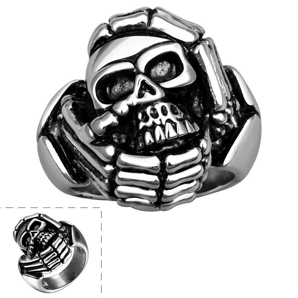 Vienna Jewelry Circular Skull Emblem Stainless Steel Ring