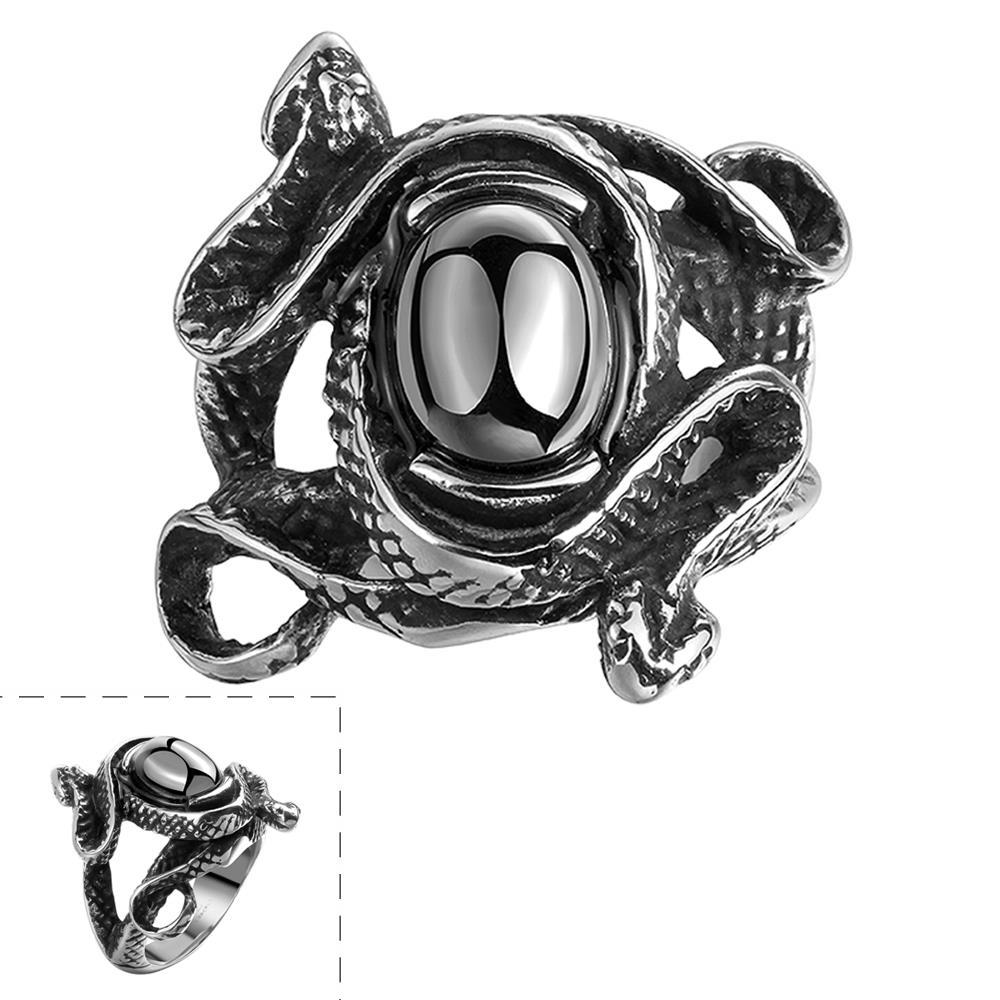 Vienna Jewelry Abstract Black Gem Stainless Steel Ring