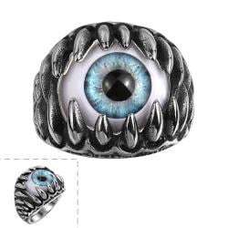 Vienna Jewelry Singular Eyeball Stainless Steel Ring - Thumbnail 0
