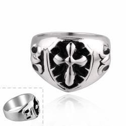 Vienna Jewelry Mini Cross Stainless Steel Ring - Thumbnail 0