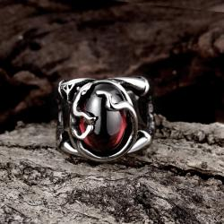 Vienna Jewelry Abstract Ruby Red Stainless Steel Ring - Thumbnail 0