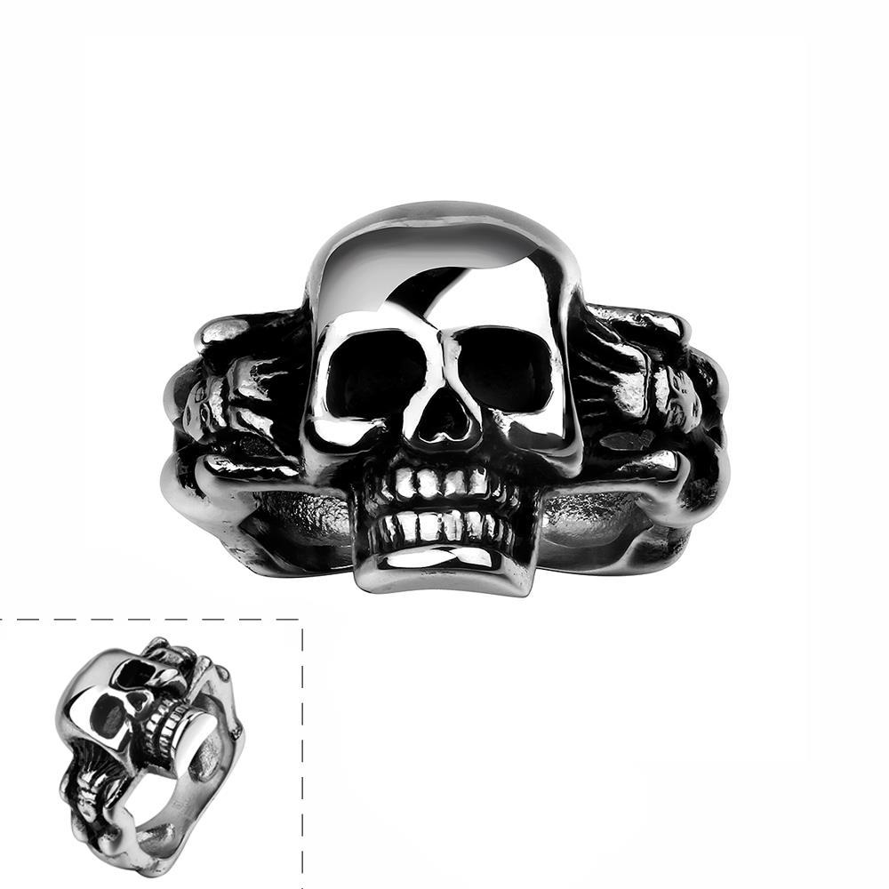 Vienna Jewelry Simple Skull Stainless Steel Ring