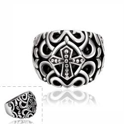 Vienna Jewelry Cross Design Emblem Stainless Steel Ring - Thumbnail 0