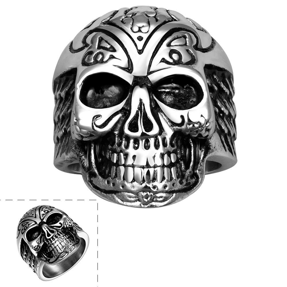 Vienna Jewelry Thick Rounded Stainless Steel Skull Ring