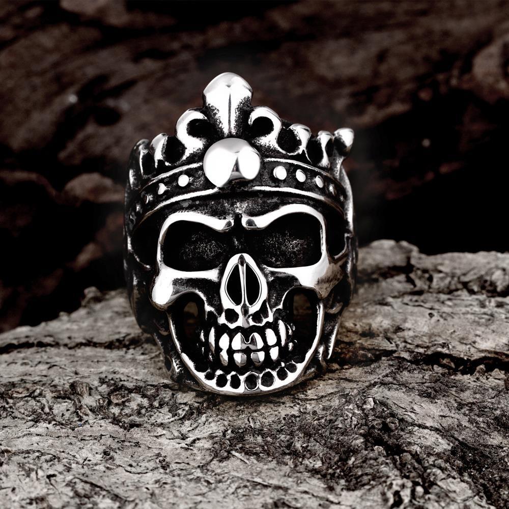 Vienna Jewelry Stainless Steel Skull King Ring