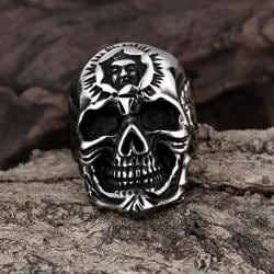 Vienna Jewelry Silver Lining Stainless Steel Skull Ring - Thumbnail 0