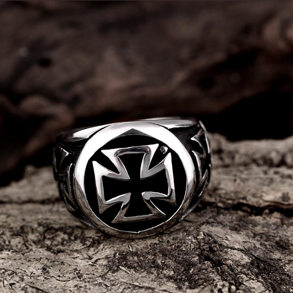 Vienna Jewelry Circular Mini Cross Stainless Steel Ring
