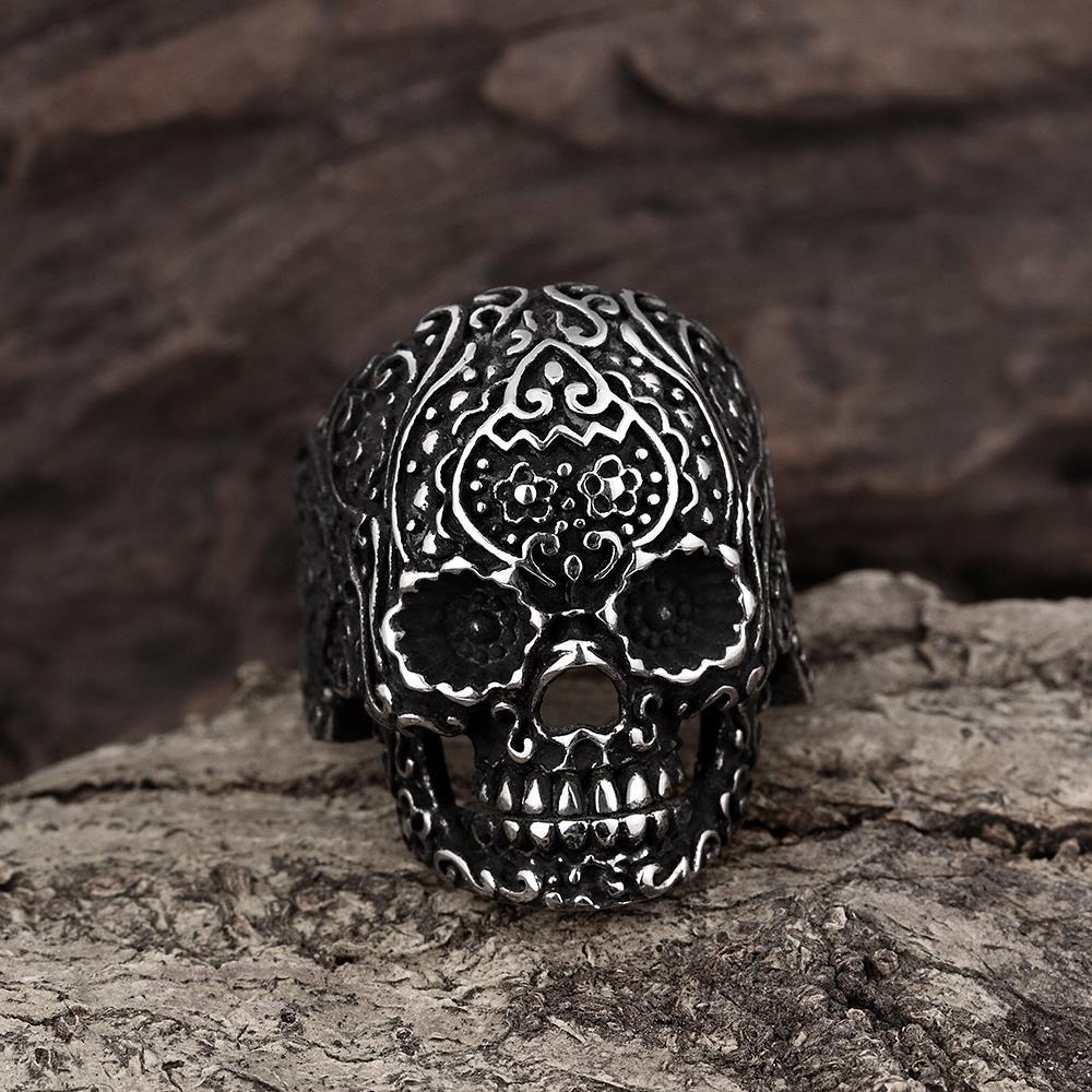 Vienna Jewelry Black Lining Stainless Steel Skull Ring