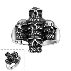 Vienna Jewelry Abstract Angular Stainless Steel Skull Ring - Thumbnail 0
