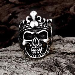 Vienna Jewelry Stainless Steel Skull King Ring - Thumbnail 0