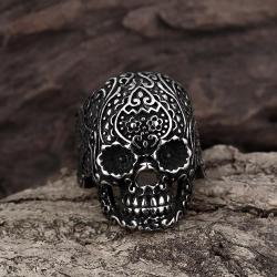 Vienna Jewelry Black Lining Stainless Steel Skull Ring - Thumbnail 0