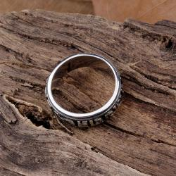 Vienna Jewelry Oriental Ingrained Stainless Steel Ring - Thumbnail 0