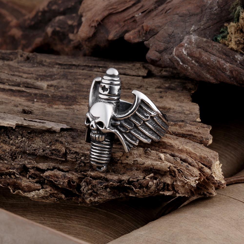 Vienna Jewelry Flying Skullhead Stainless Steel Ring
