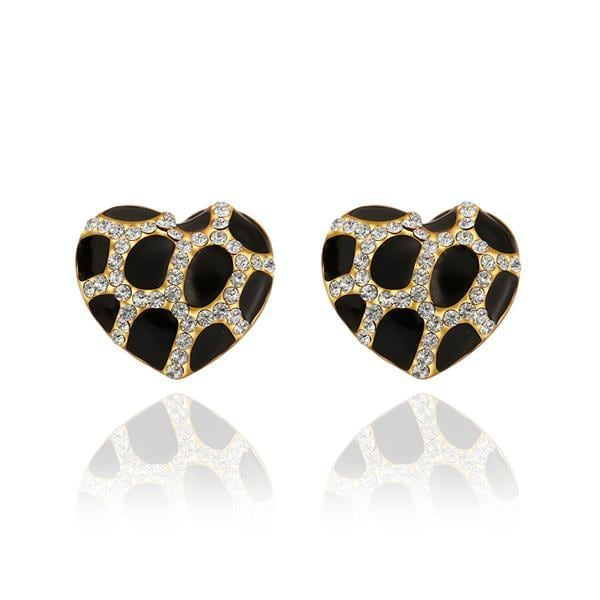 Vienna Jewelry 18K Gold Heart Shaped Onyx Gem Stud Earrings Made with Swarovksi Elements