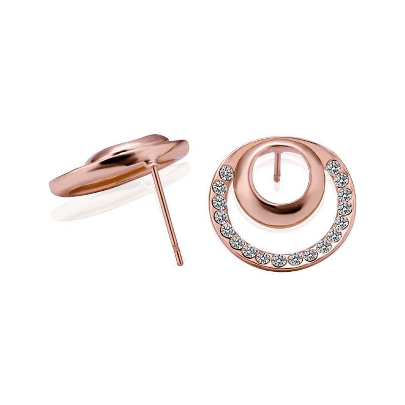 Vienna Jewelry 18K Rose Gold Two Circles Earrings Made with Swarovksi Elements