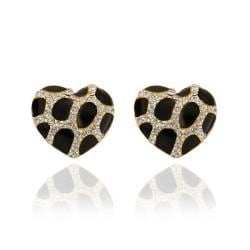 Vienna Jewelry 18K Gold Heart Shaped Onyx Gem Stud Earrings Made with Swarovksi Elements - Thumbnail 0