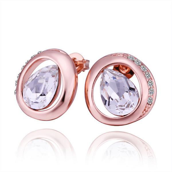 Vienna Jewelry 18K Rose Gold Circular Stud Earrings with Crystal Jewel Made with Swarovksi Elements