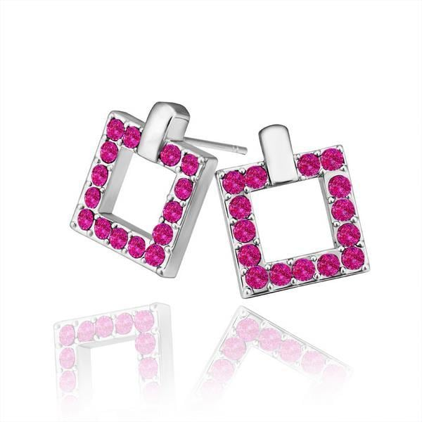 Vienna Jewelry 18K White Gold Square Stud Earrings Covered with Coral Jewels Made with Swarovksi Elements