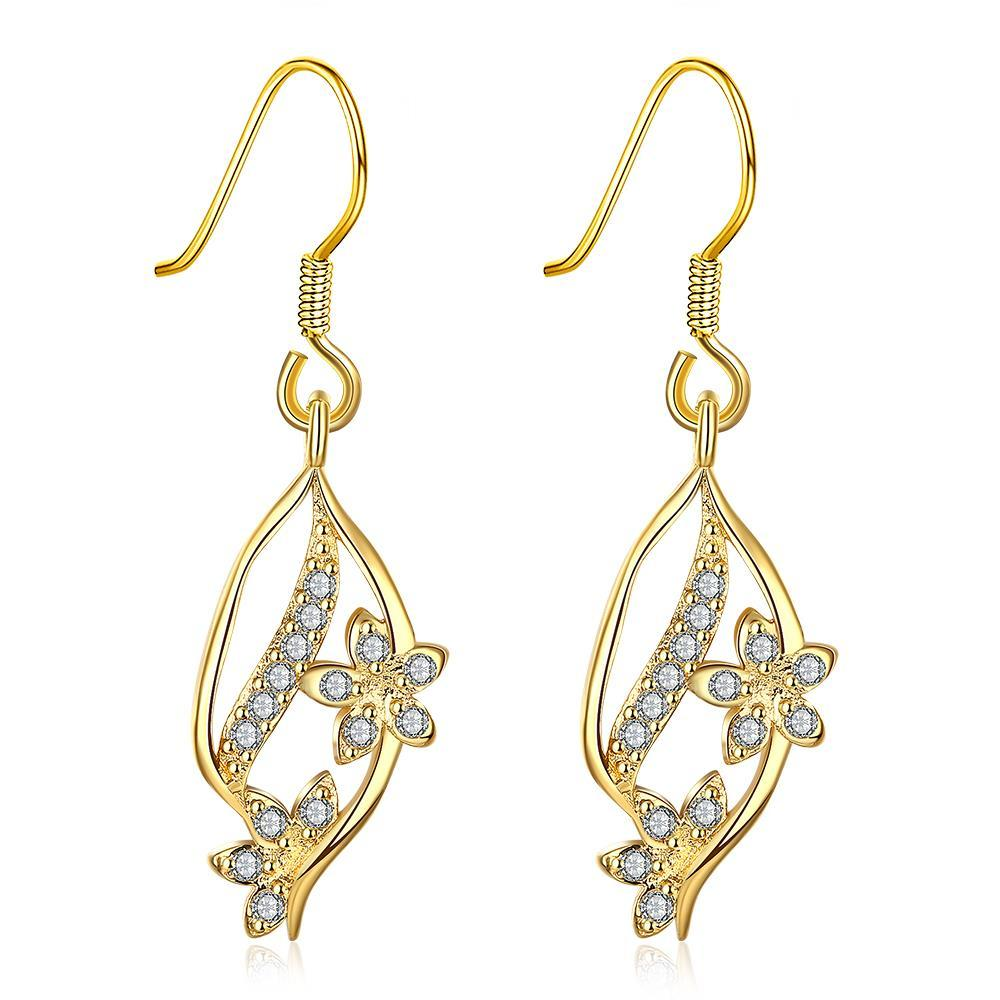Vienna Jewelry Gold Pave' Covered Natural Inspired Drop Down Earrings