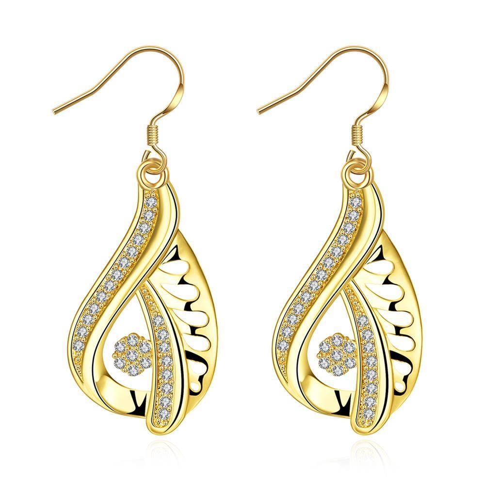 Vienna Jewelry Gold Plated Abstract Curved Drop Down Earrings