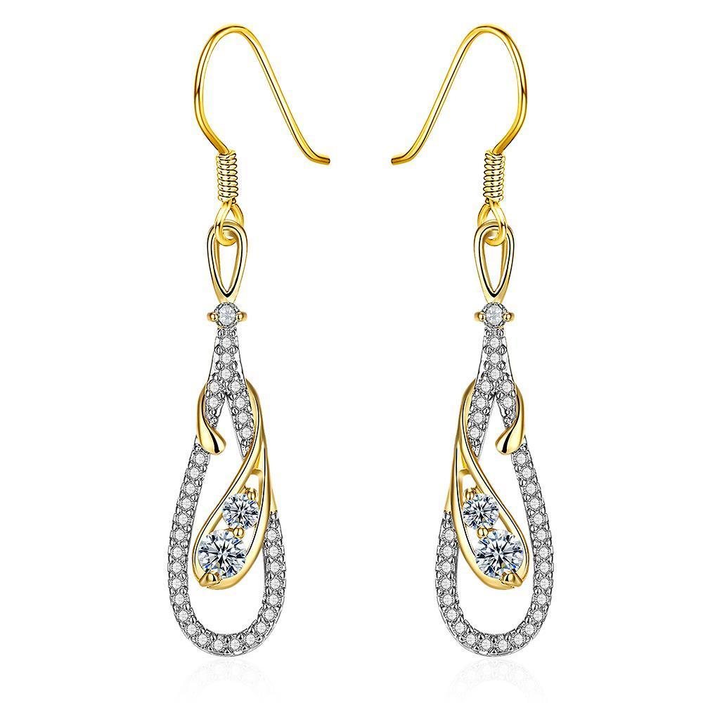 White Gold Zig Zag Inspired Drop Earrings
