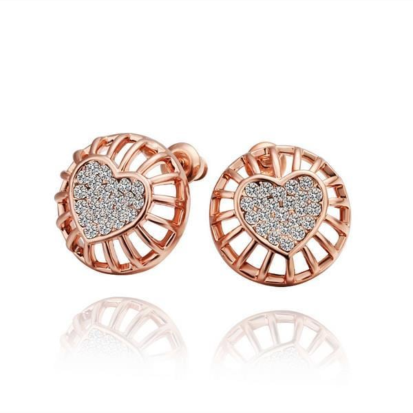 Vienna Jewelry 18K Rose Gold Stud Earrings with Heart Shaped Placing Made with Swarovksi Elements
