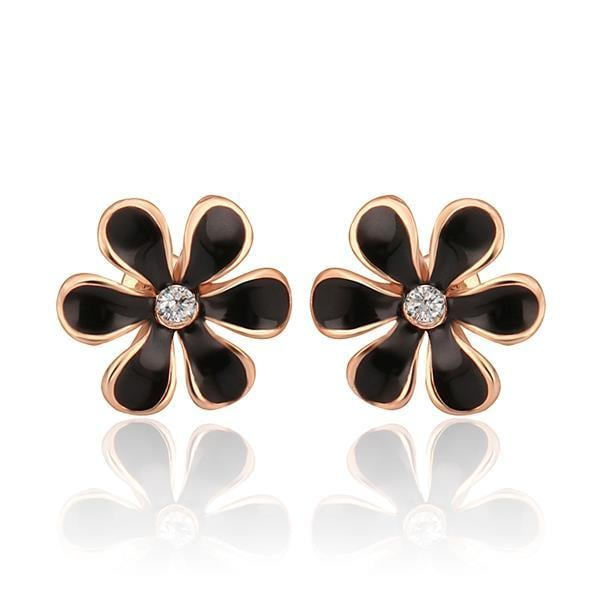 Vienna Jewelry 18K Rose Gold Onyx Floral Petal Stud Earrings Made with Swarovksi Elements