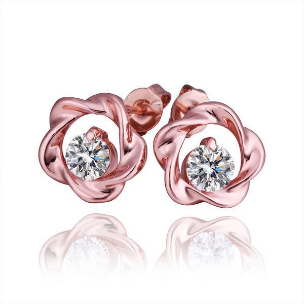 Vienna Jewelry 18K Rose Gold Crusted Style Stud Earrings Made with Swarovksi Elements