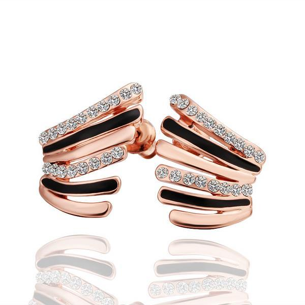 Vienna Jewelry 18K Rose Gold Half Spiral Earrings Made with Swarovksi Elements