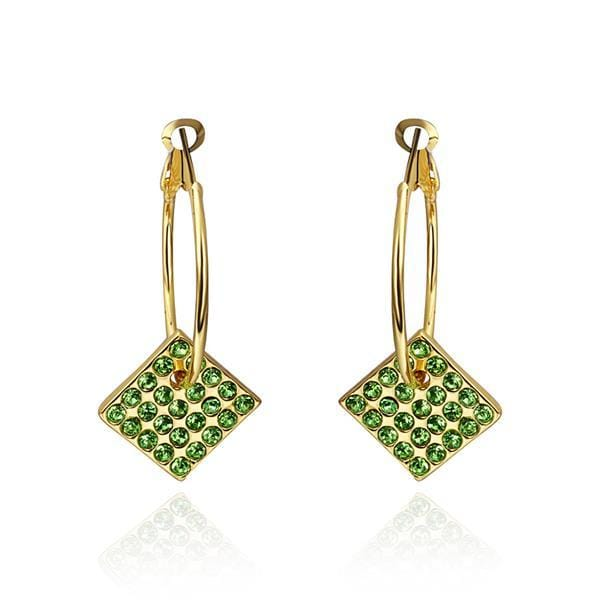 Vienna Jewelry 18K Gold Drop Down Earrings with Emerald Jewels Made with Swarovksi Elements