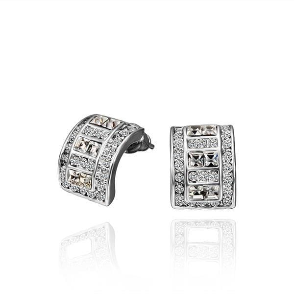 Vienna Jewelry 18K White Gold 1/2 Hoop Earrings with Crystal Jewels Made with Swarovksi Elements