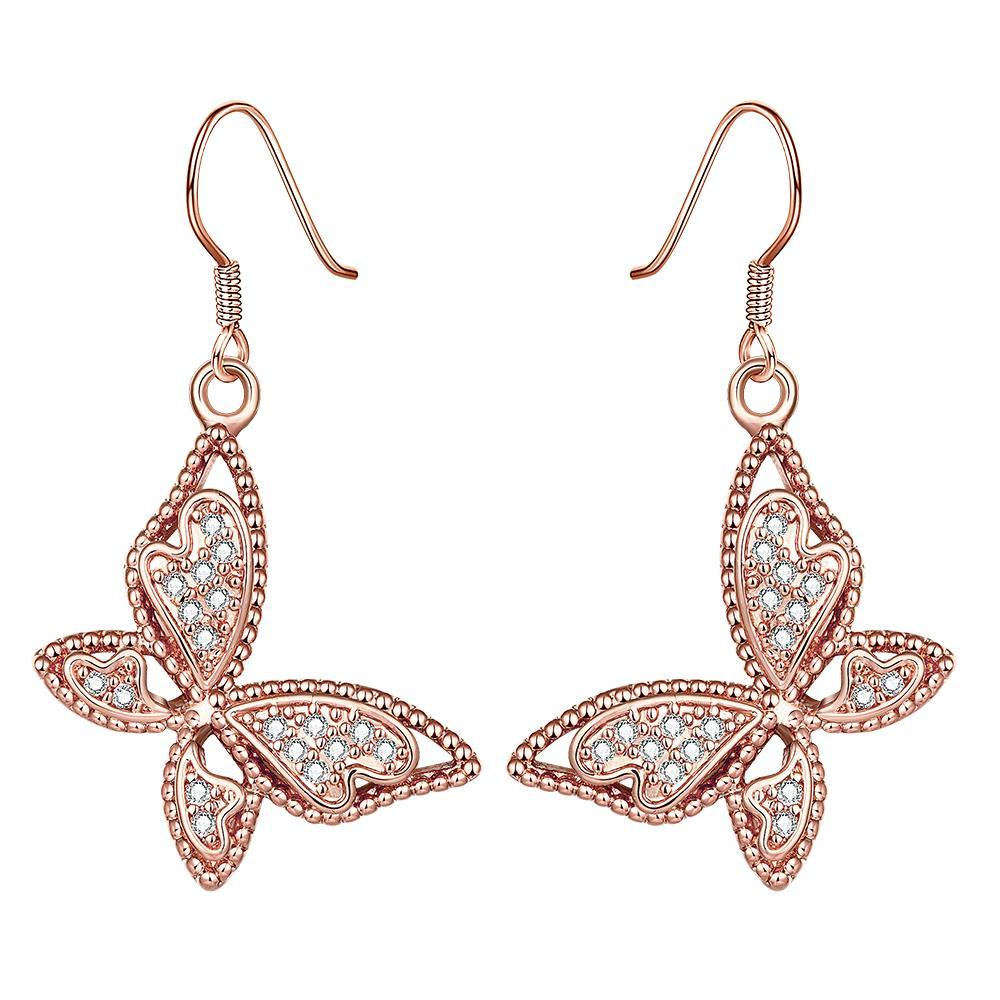 Vienna Jewelry Rose Gold Plated Butterflies Drop Down Earrings