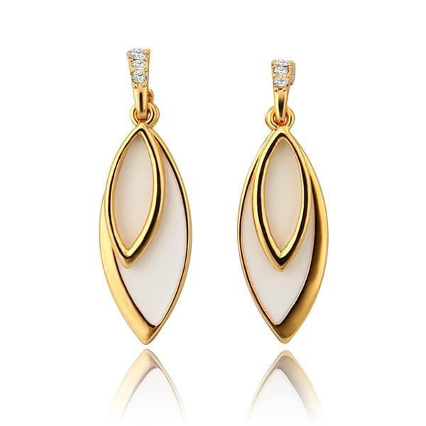Vienna Jewelry 18K Gold Ivory Covering Drop Down Earrings Made with Swarovksi Elements
