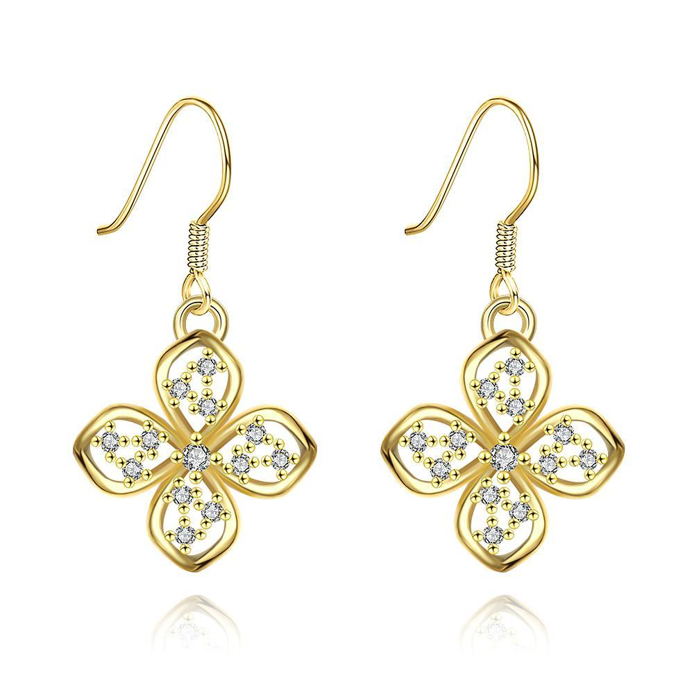 Vienna Jewelry Gold Plated Hollow Clover Drop Down Earrings