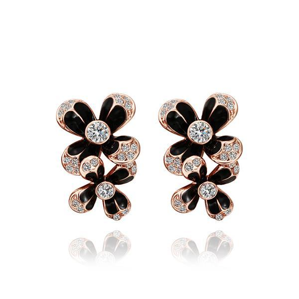 Vienna Jewelry 18K Rose Gold Floral Drop Down Earrings Made with Swarovksi Elements