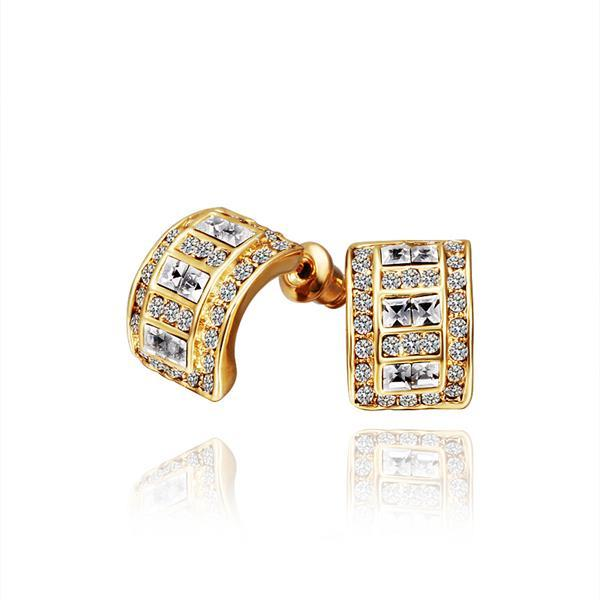 Vienna Jewelry 18K Gold 1/2 Hoop Earrings with Crystal Jewels Made with Swarovksi Elements