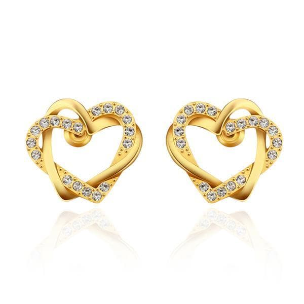 Vienna Jewelry 18K Gold Crystal Covered Hollow Hearts Stud Earrings Made with Swarovksi Elements