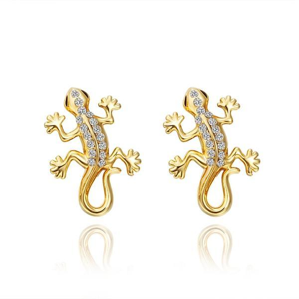 Vienna Jewelry 18K Gold Salamander Stud Earrings Made with Swarovksi Elements