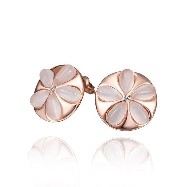 Vienna Jewelry 18K Rose Gold Ivory Floral Stud Earrings] Made with Swarovksi Elements