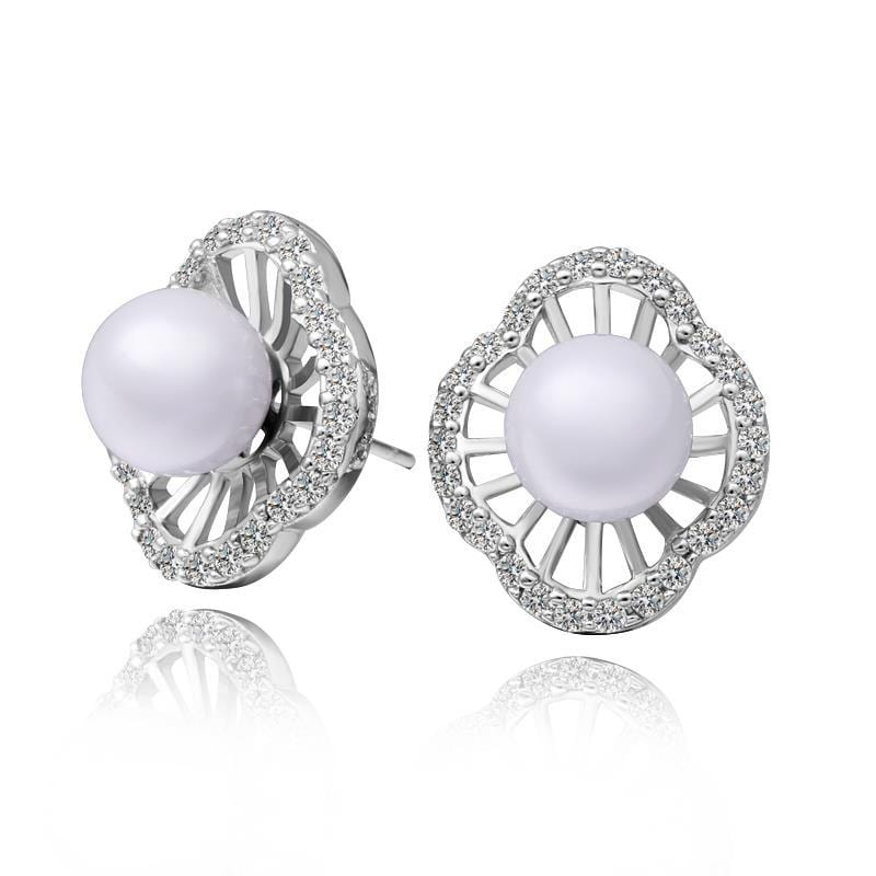 Vienna Jewelry 18K White Gold Pearl Design Stud Earrings Made with Swarovksi Elements