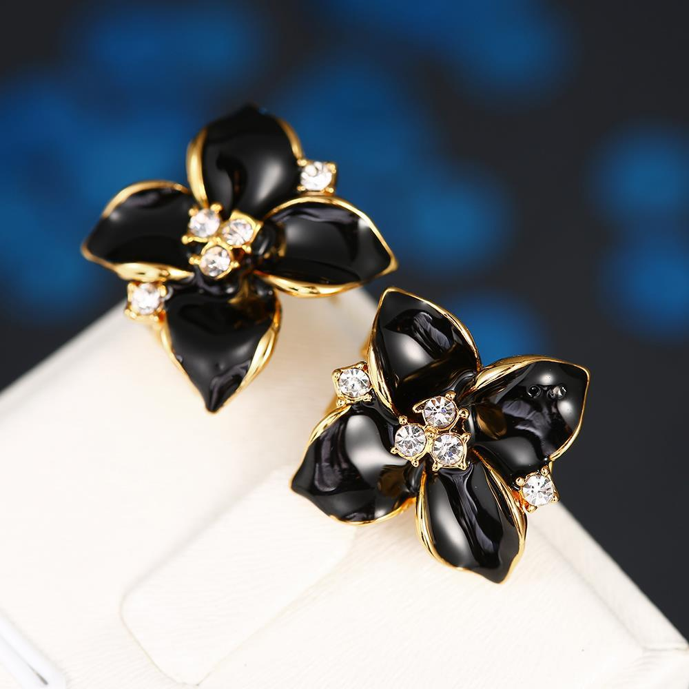 Vienna Jewelry 18K Gold Classic Onyx Rose Petal Earrings Made with Swarovksi Elements - Thumbnail 0